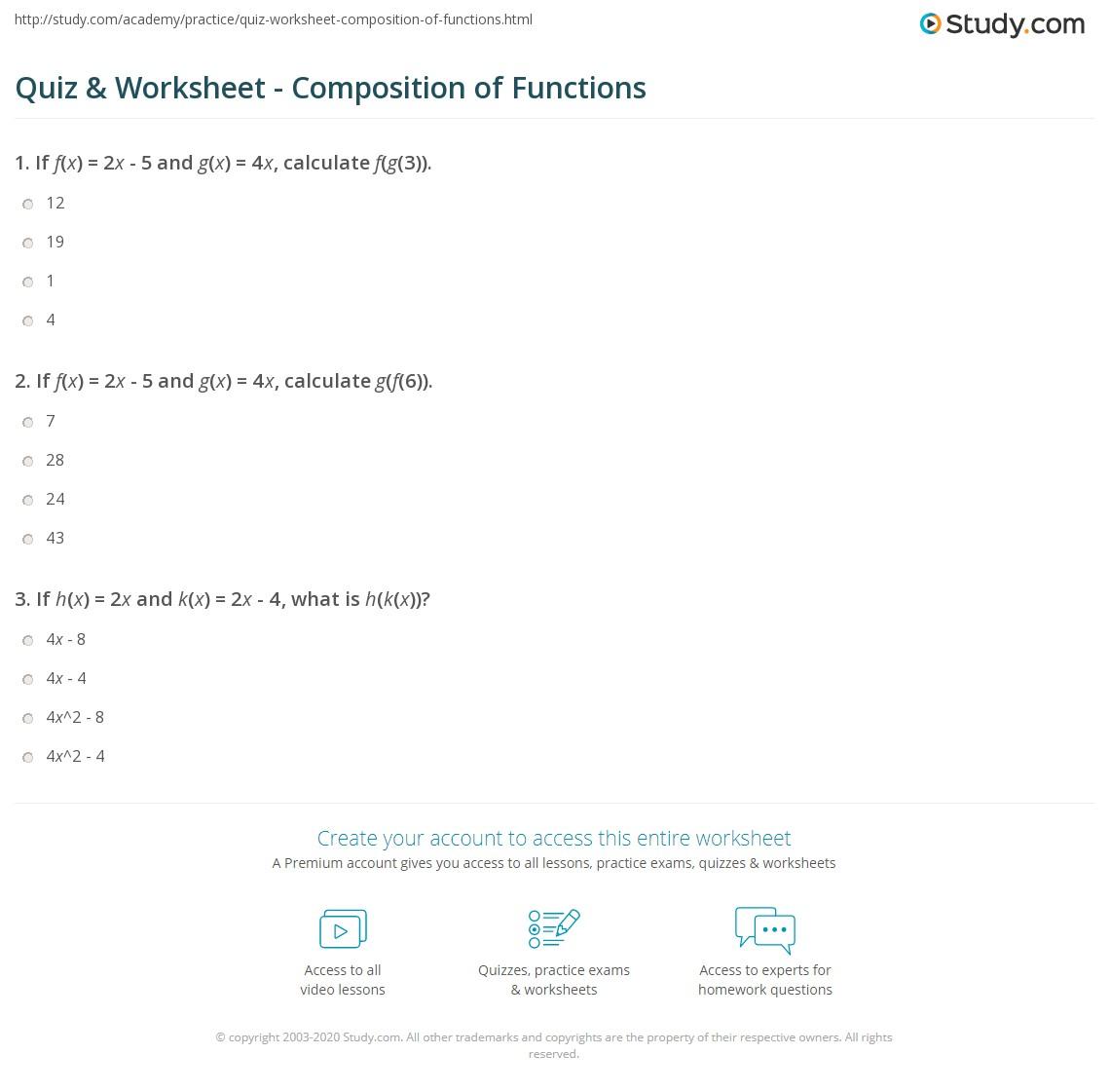 Quiz W Ksheet Positi Of Functi S Study