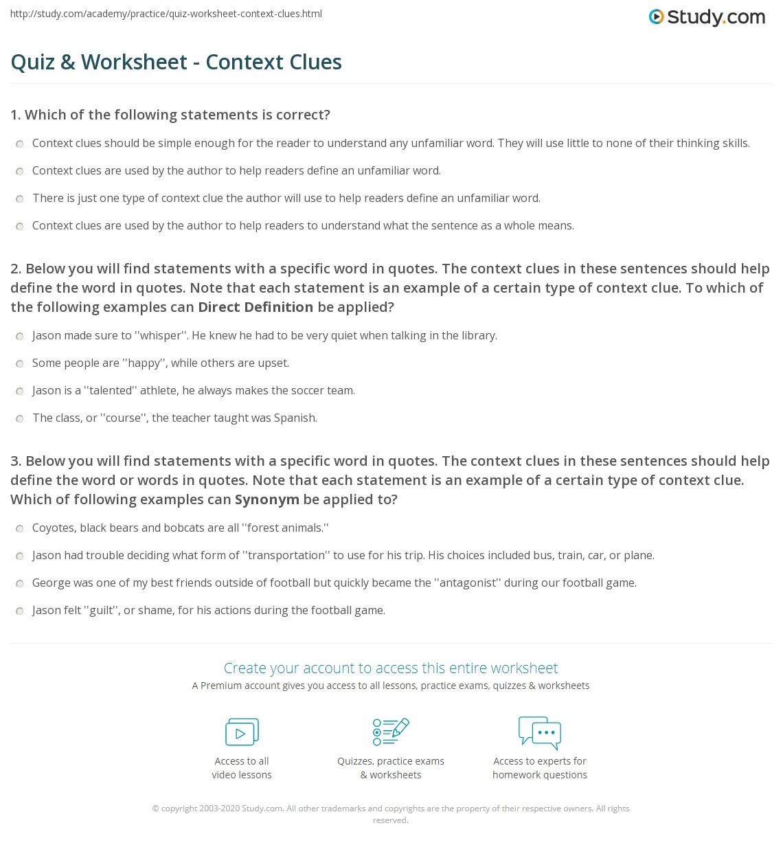 Quiz W Ksheet C Text Clues Study