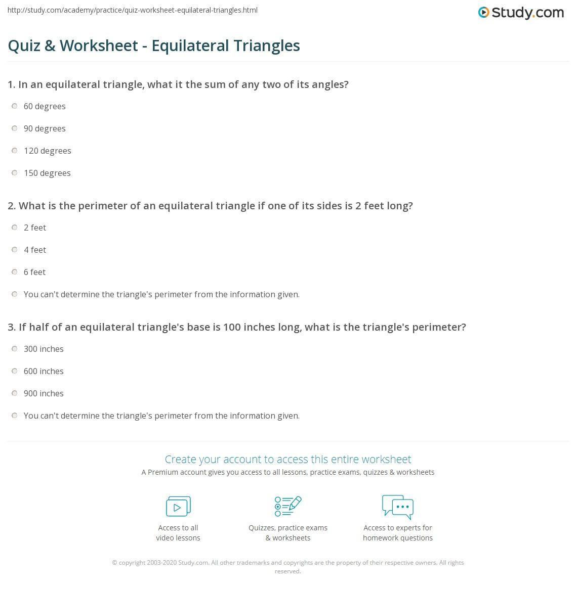 Quiz W Ksheet Equil Ter L Tri Ngles Study