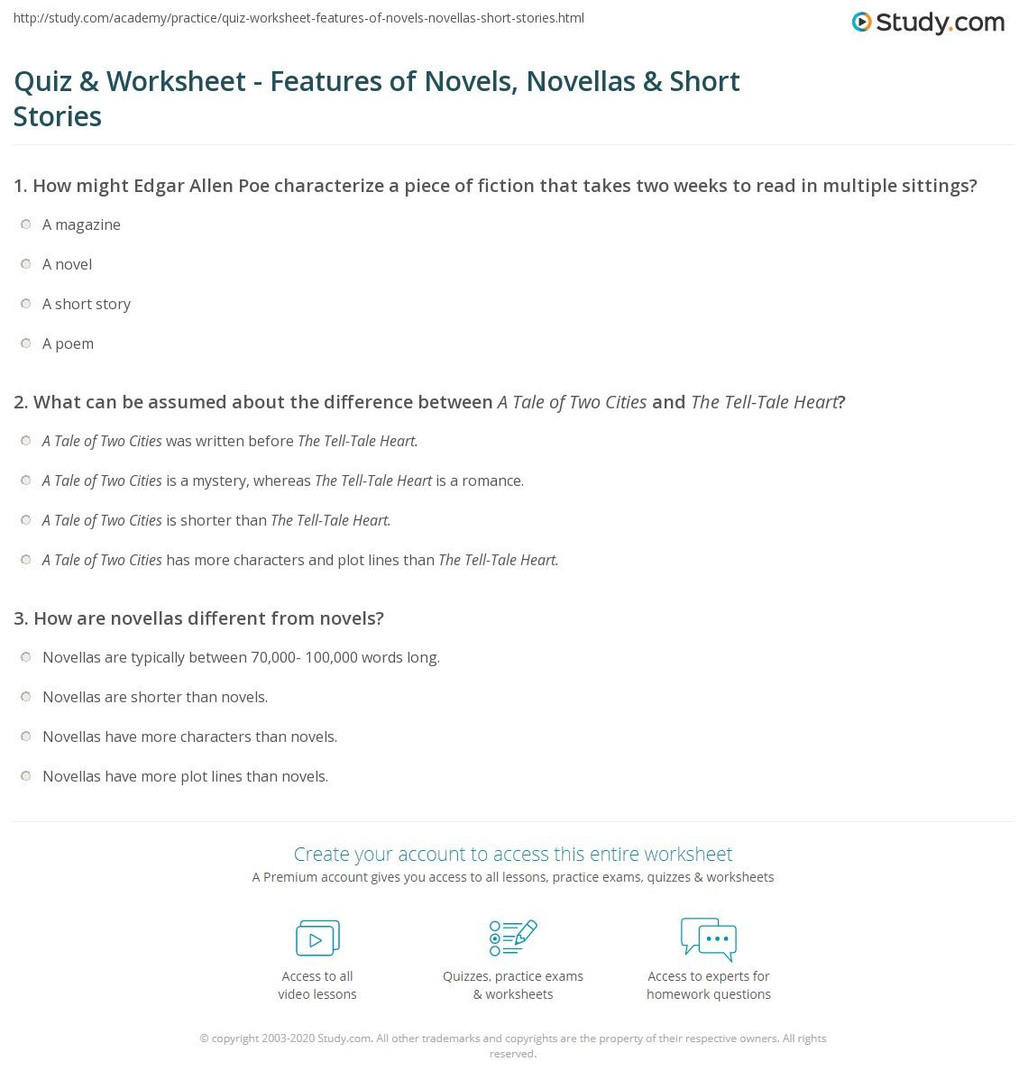 Quiz W Ksheet Fe Tures Of Novels Novell S Sh T St Ies