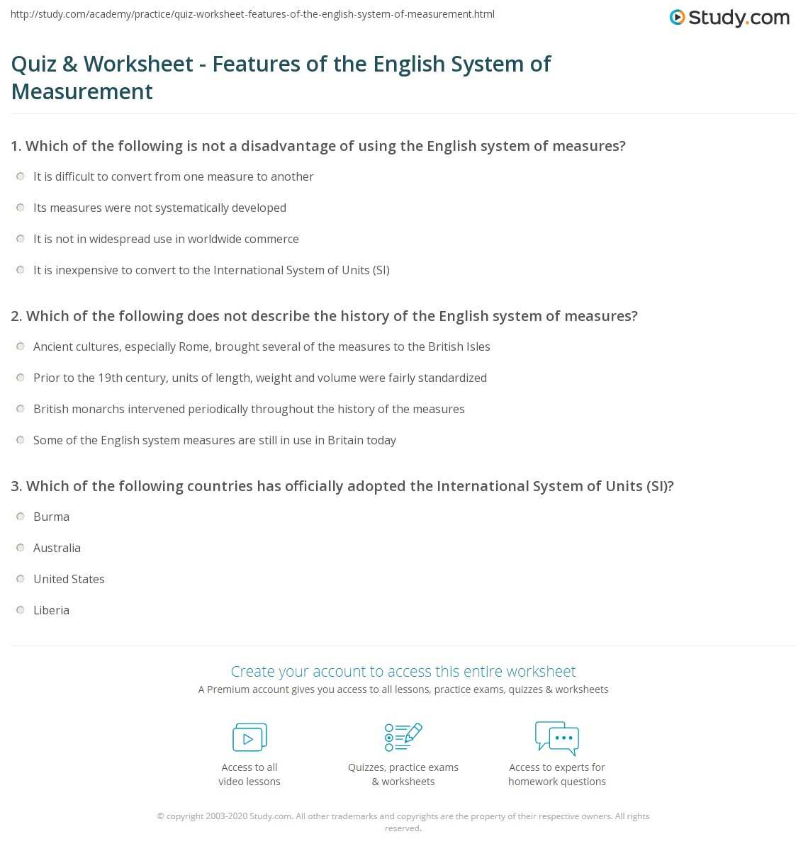 Quiz W Ksheet Fe Tures Of English System Of Me Surement