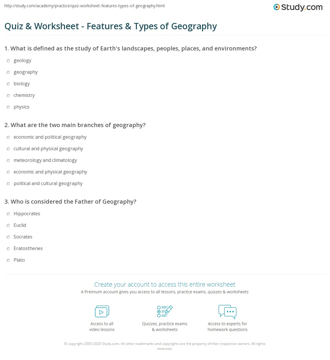 Quiz W Ksheet Fe Tures Types Of Geogr Phy Study