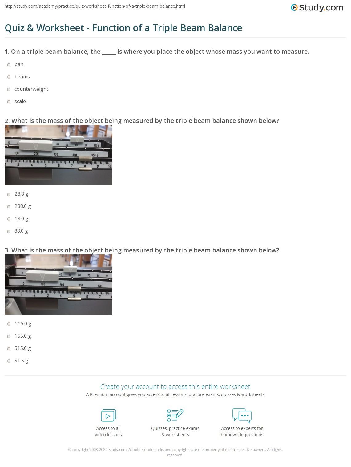 Quiz W Ksheet Functi Of Triple Be M B L Nce Study