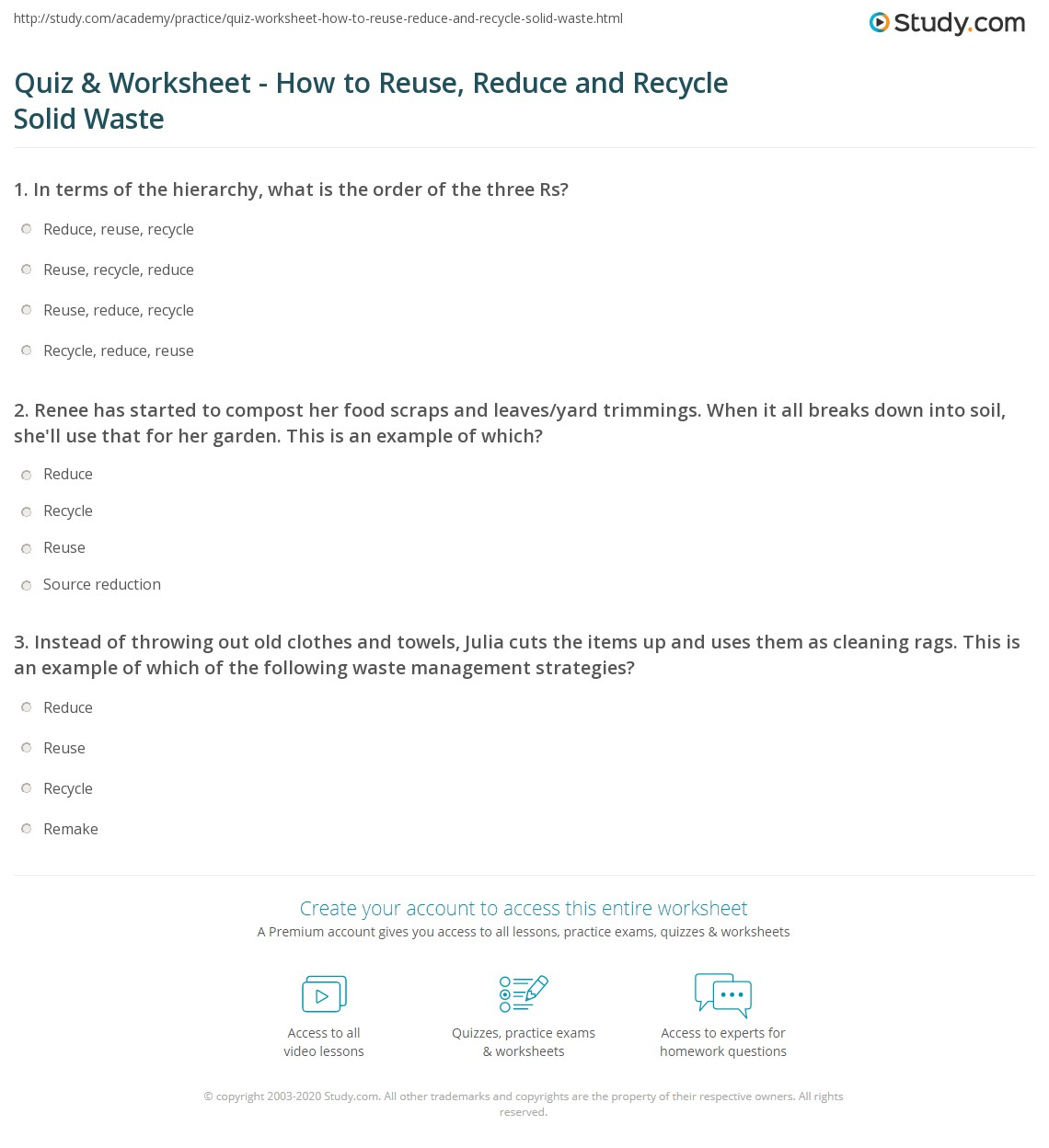 Quiz W Ksheet How To Reuse Reduce Nd Recycle Lid W Ste