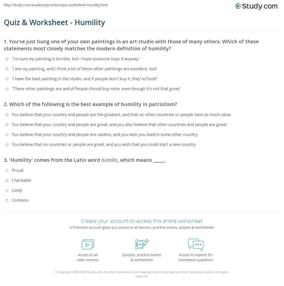 Quiz W Ksheet Humility Study