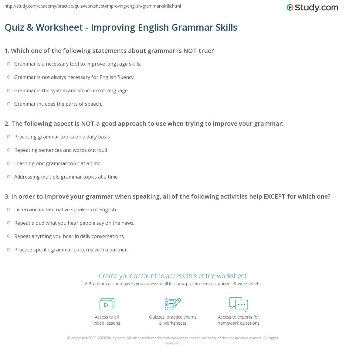 Quiz W Ksheet Improv G English Gr Mm R Skills Study