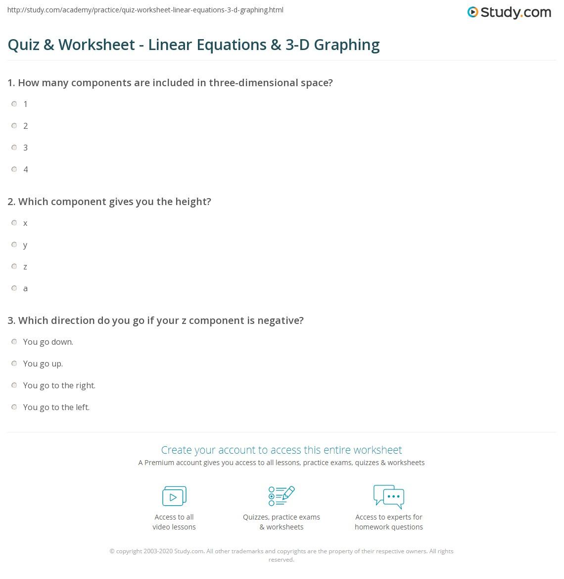 Quiz W Ksheet L E R Equ Ti S 3 D Gr Ph G Study