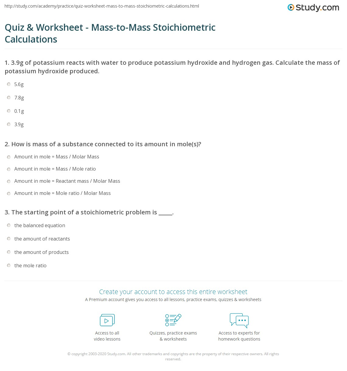 Quiz W Ksheet M Ss To M Ss Stoichiometric C Lcul Ti S