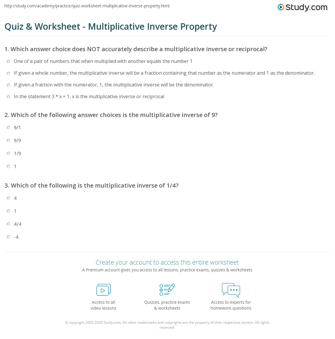 Quiz W Ksheet Multiplic Tive Verse Property Study