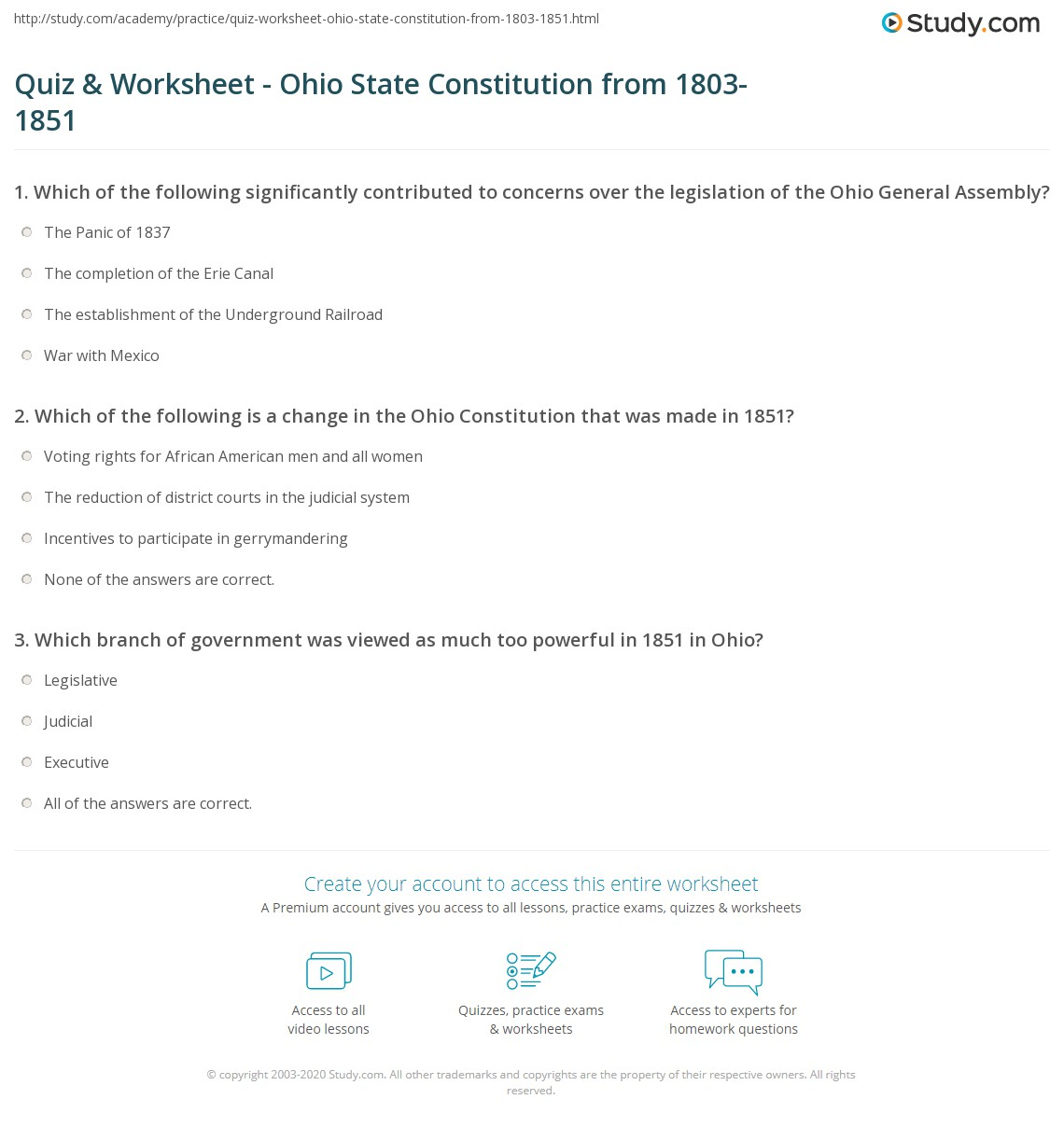 Quiz W Ksheet Ohio St Te C Stituti From 1803 1851 Study