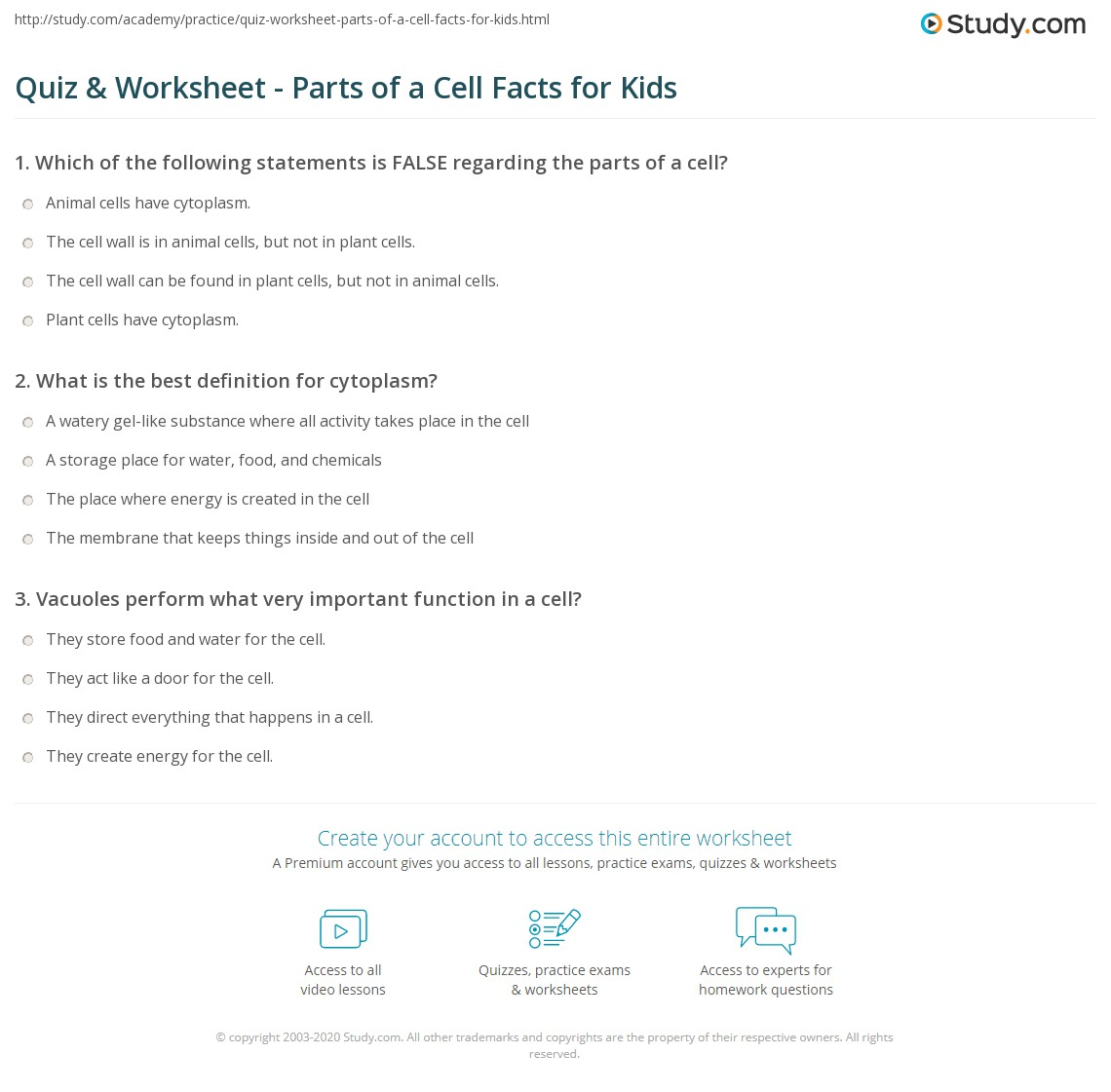 Quiz W Ksheet P Rts Of Cell F Cts Kids Study