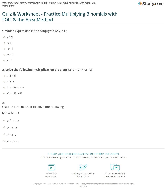 Quiz W Ksheet Pr Ctice Multiply G B Omi Ls With Foil