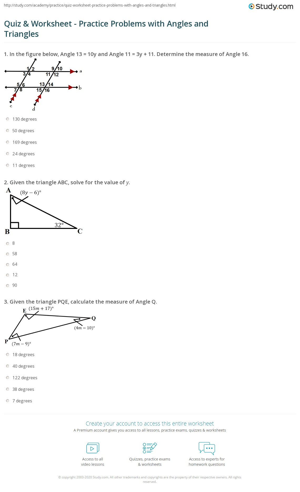 Quiz W Ksheet Pr Ctice Problems With Ngles Nd Tri Ngles