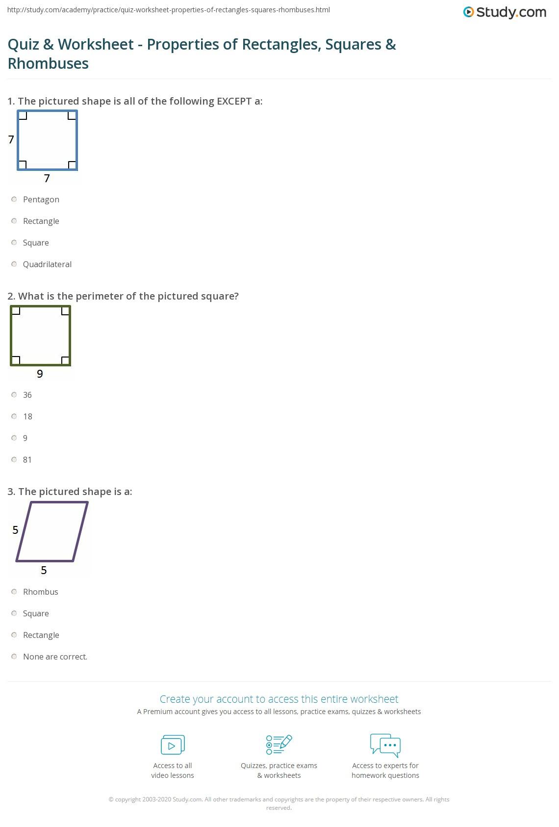 Quiz W Ksheet Properties Of Rect Ngles Squ Res Rhombuses