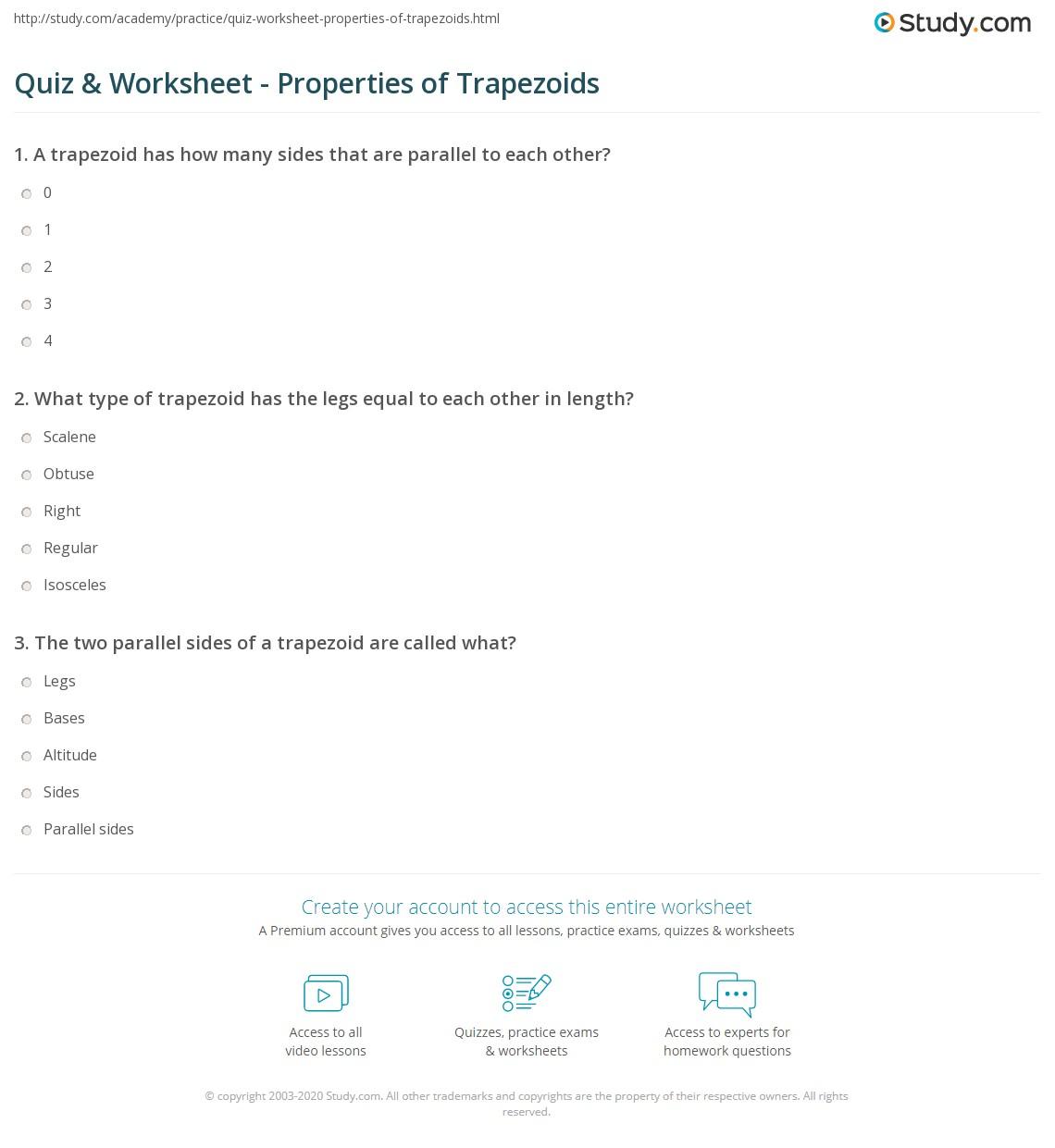 Quiz W Ksheet Properties Of Tr Pezoids Study