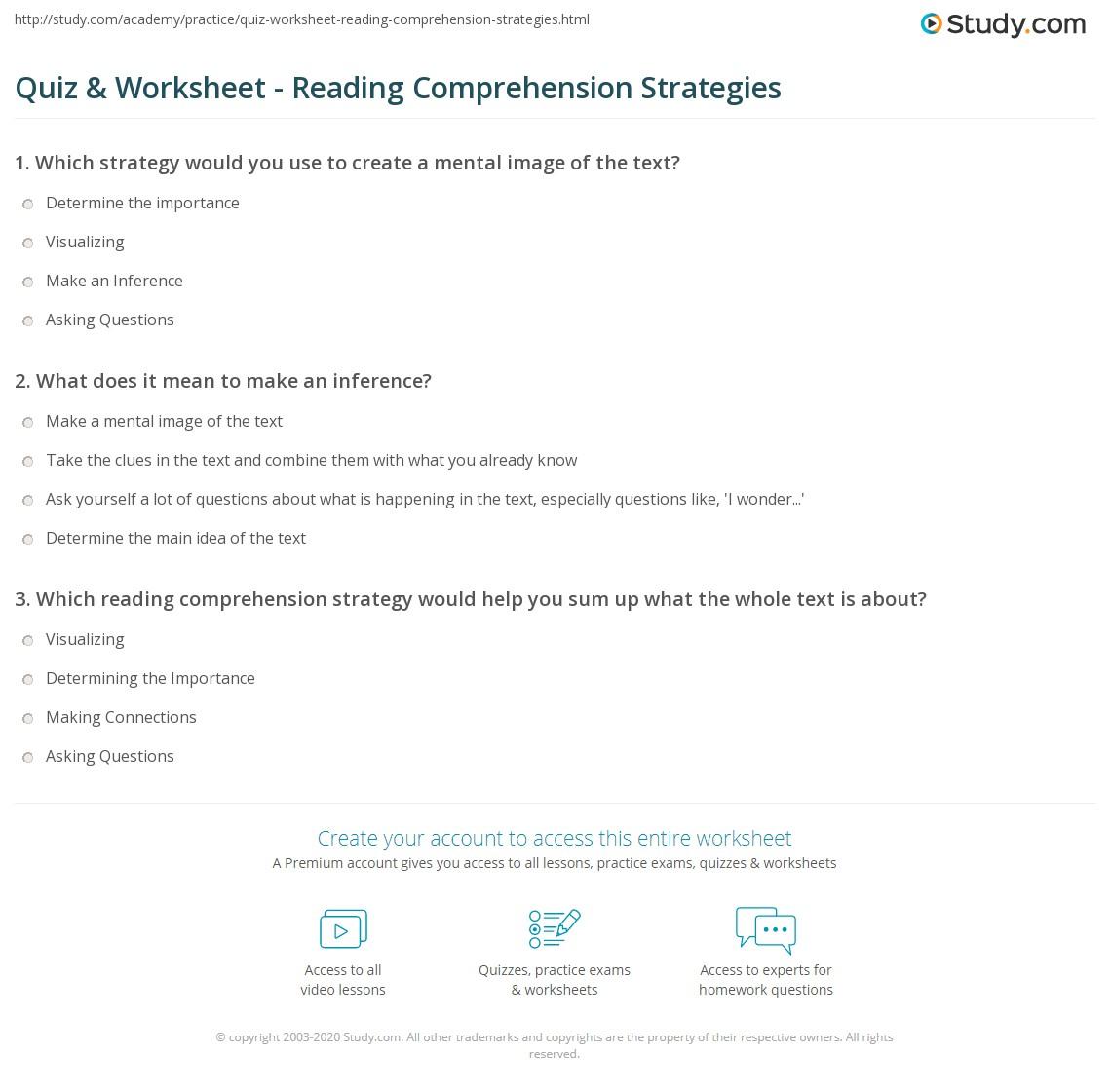 Quiz W Ksheet Re D G Prehensi Str Tegies Study