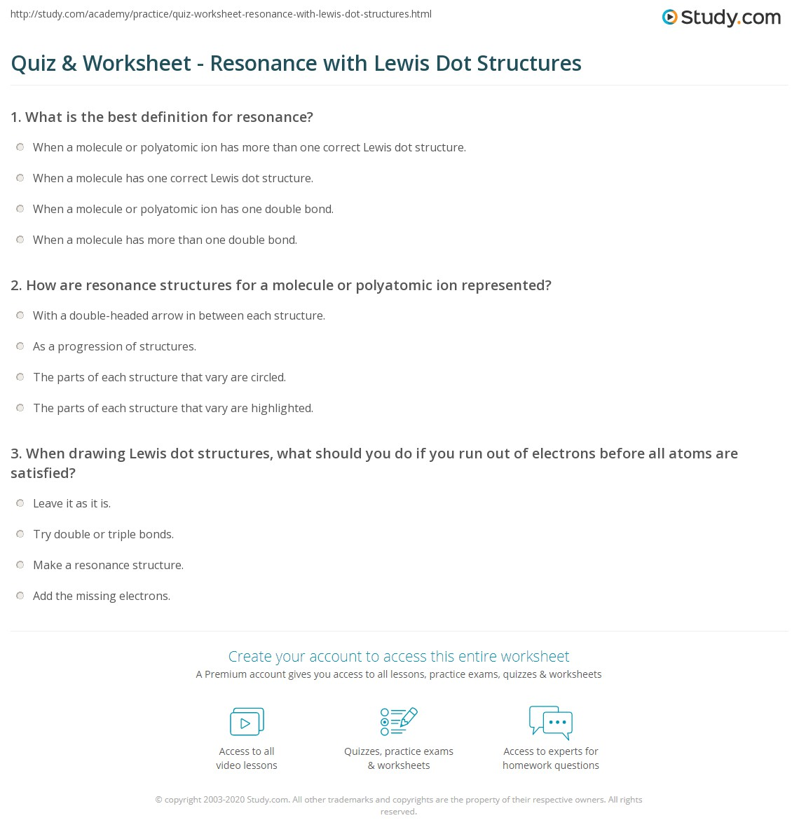 Quiz W Ksheet Res Nce With Lewis Dot Structures Study