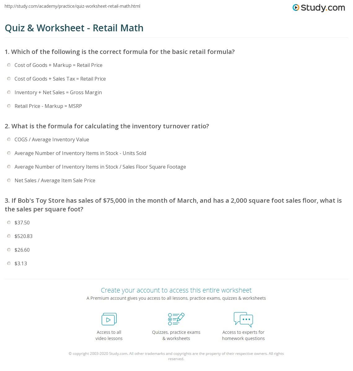 Quiz W Ksheet Ret Il M Th Study