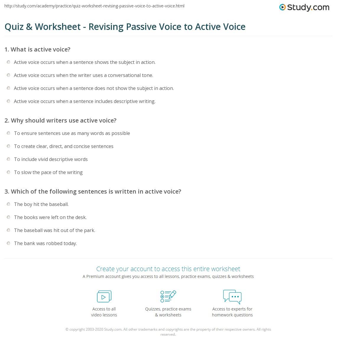 Quiz W Ksheet Revis G P Ssive Voice To Ctive Voice Study