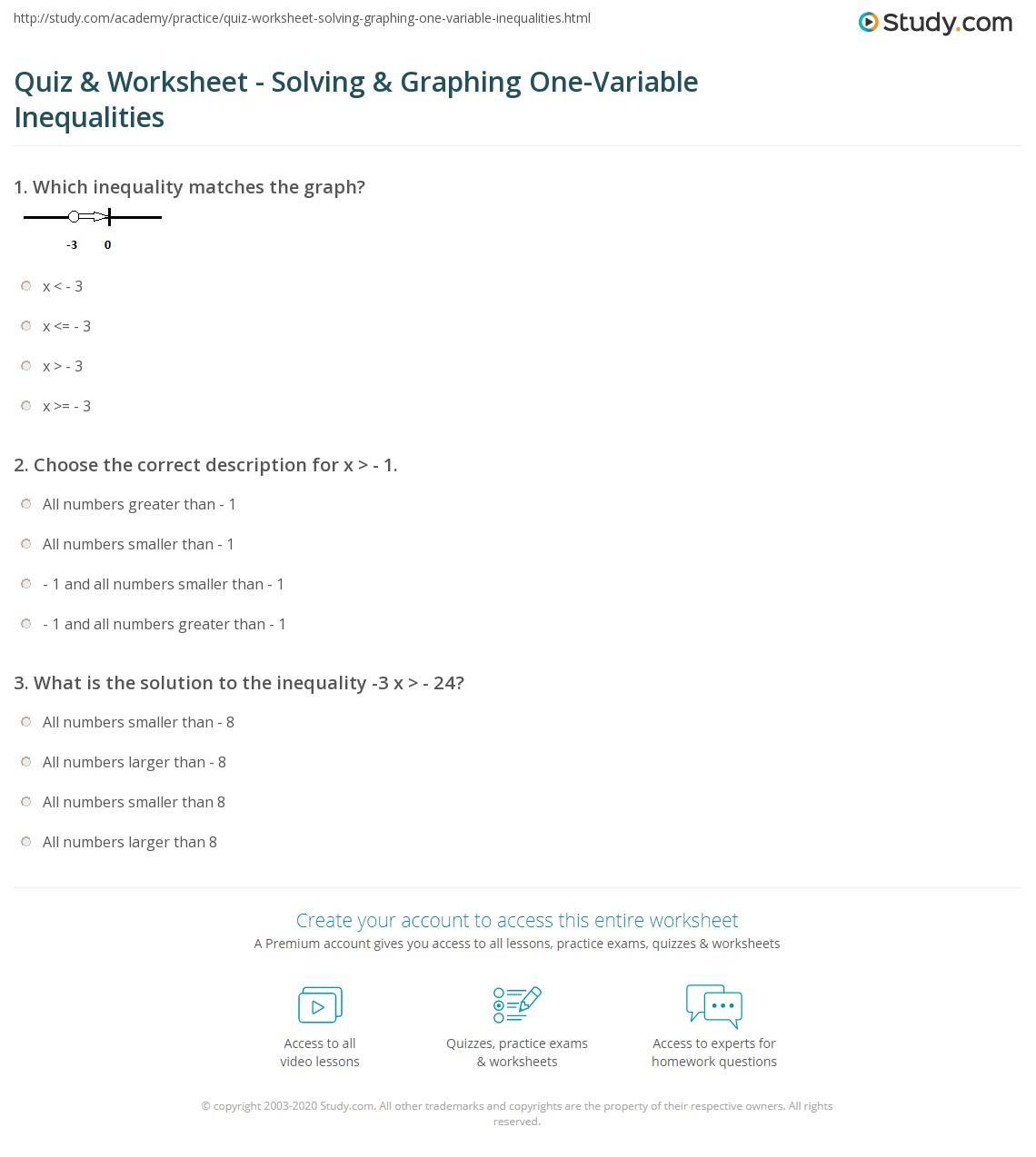 Quiz W Ksheet Lv G Gr Ph G E V Ri Ble Equ Lities