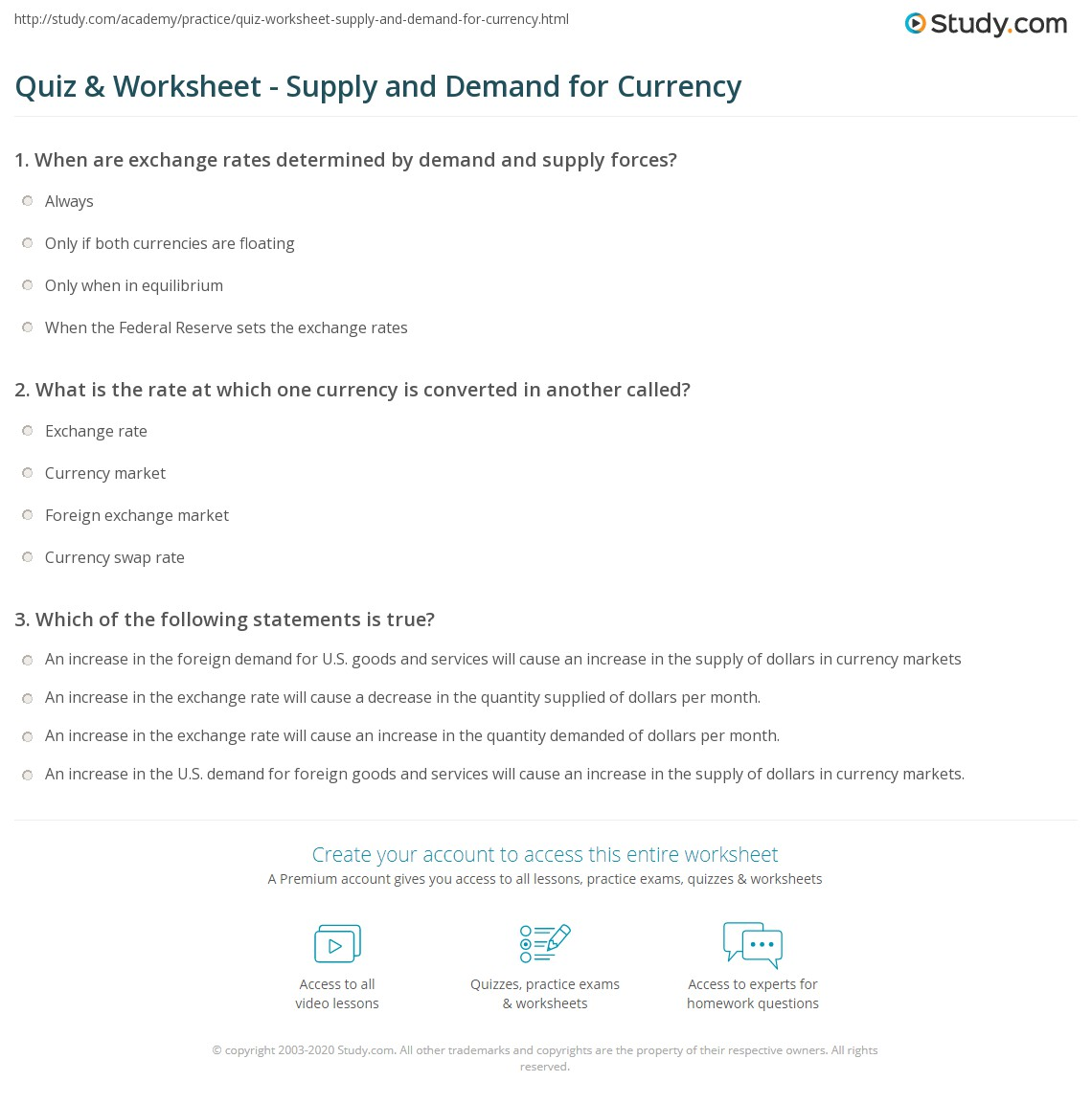 Quiz W Ksheet Supply Nd Dem Nd Currency Study