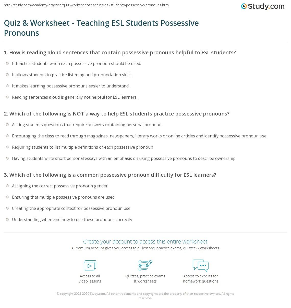 Quiz W Ksheet Te Ch G Esl Students Possessive Pr Ouns