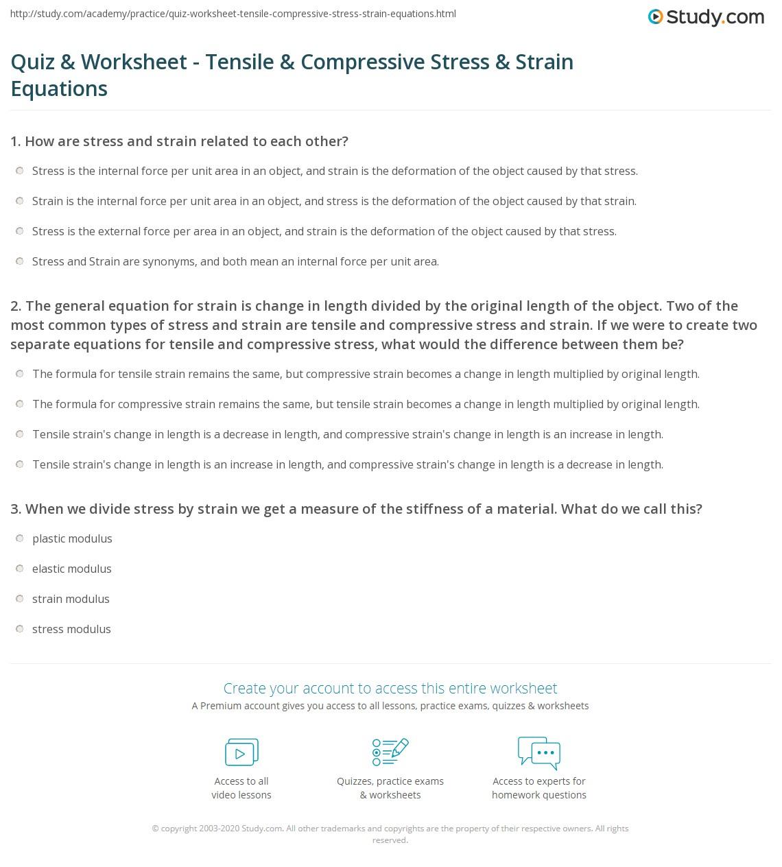 Quiz W Ksheet Tensile Pressive Stress Str Equ Ti S