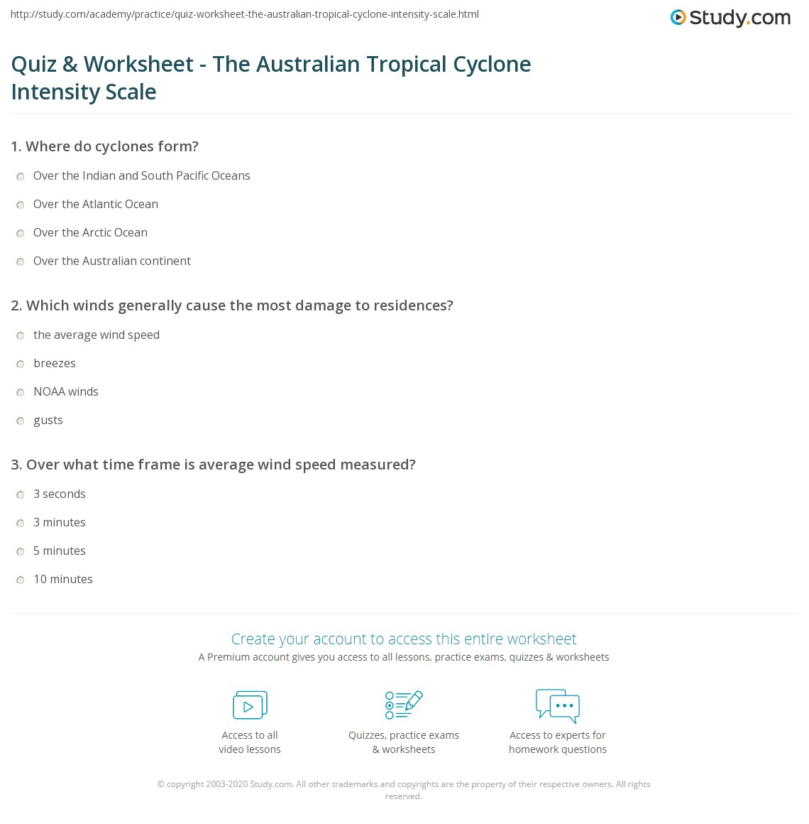 Quiz W Ksheet Ustr Li N Tropic L Cycl E Tensity Sc Le