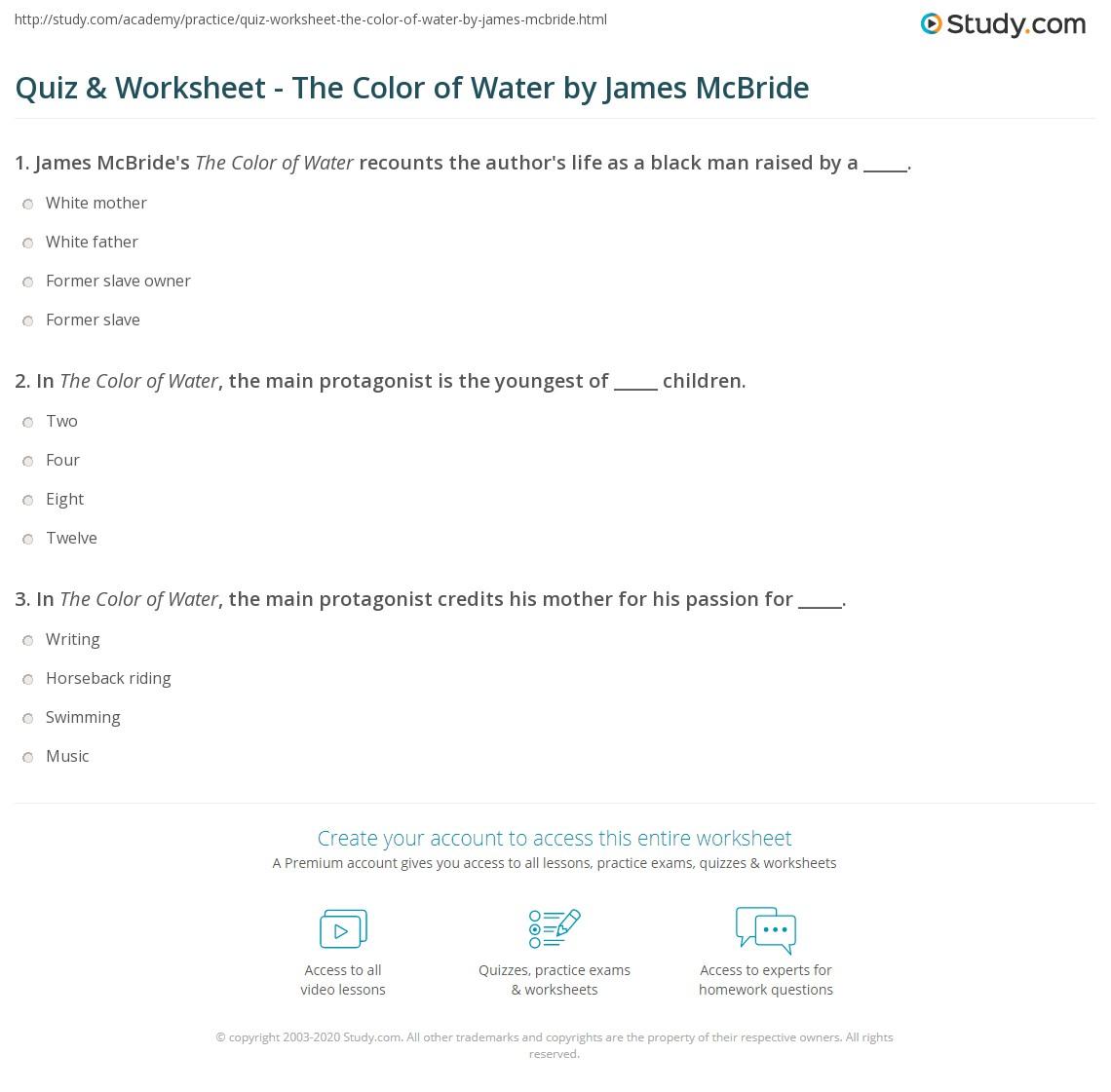 Quiz W Ksheet Col Of W Ter By J Mes Mcbride Study