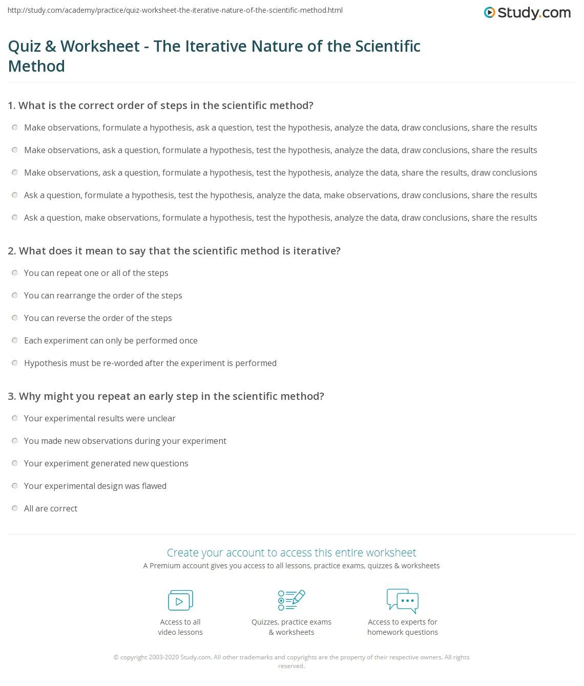 Quiz W Ksheet Iter Tive N Ture Of Scient Ic Method