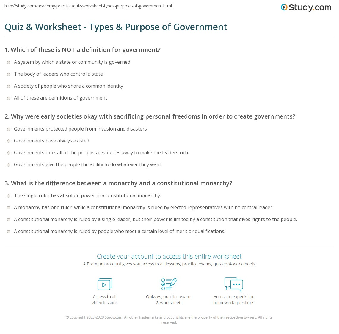 Quiz W Ksheet Types Purpose Of Government Study