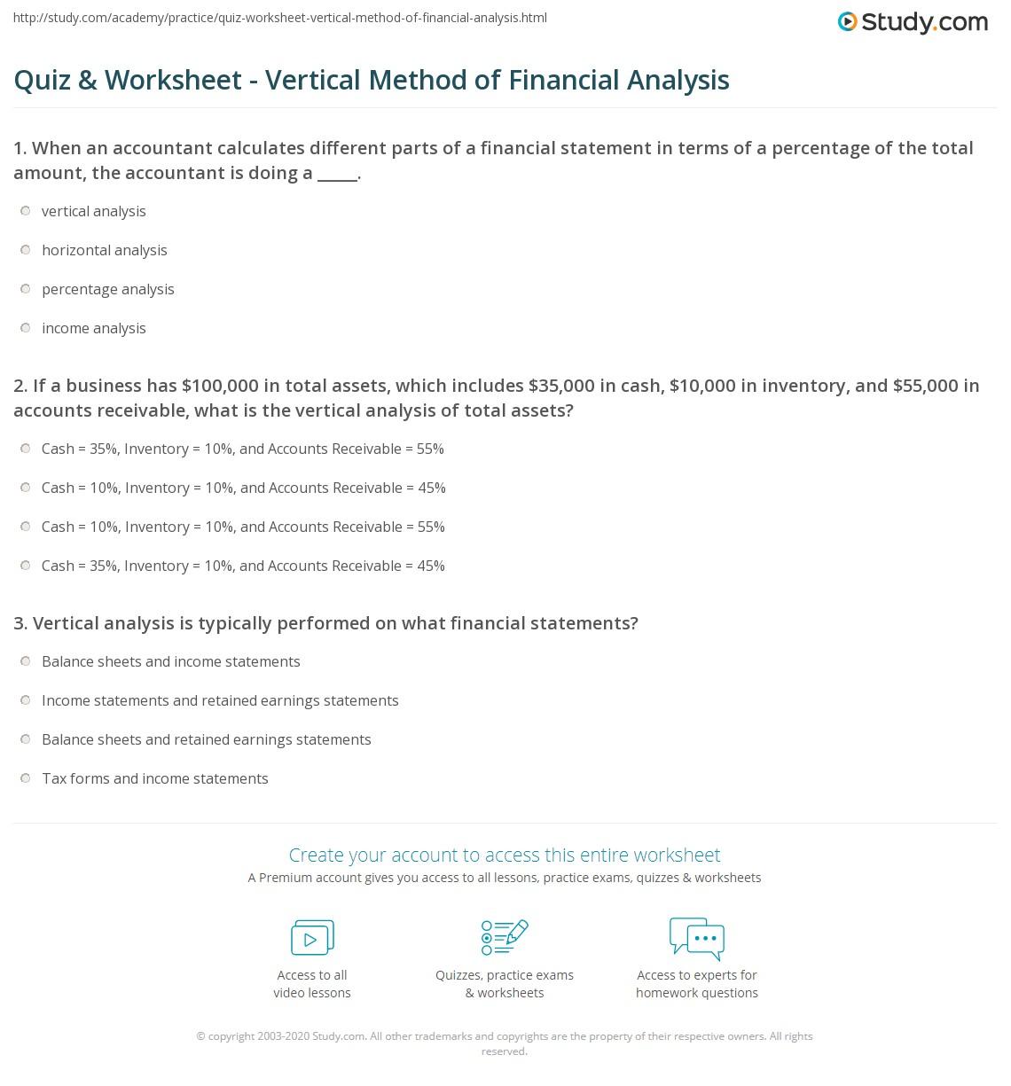 Quiz W Ksheet Vertic L Method Of F Nci L N Lysis Study