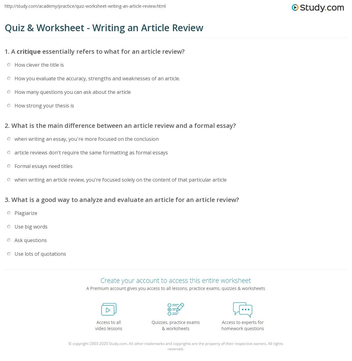 Quiz W Ksheet Writ G N Rticle Review Study