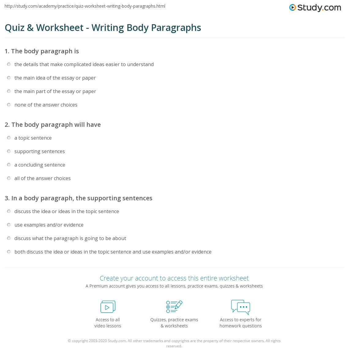 Quiz W Ksheet Writ G Body P R Gr Phs Study