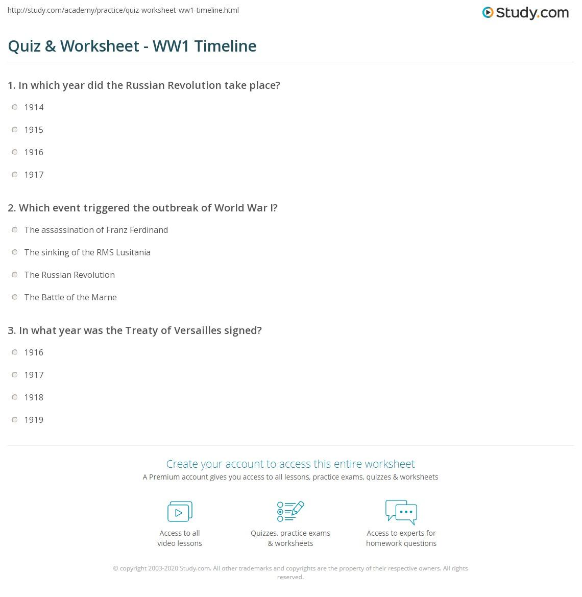 Quiz W Ksheet Ww1 Timel E Study