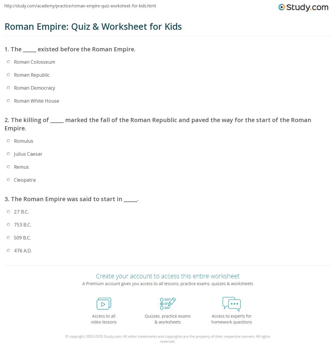 Rom N Empire Quiz W Ksheet Kids Study