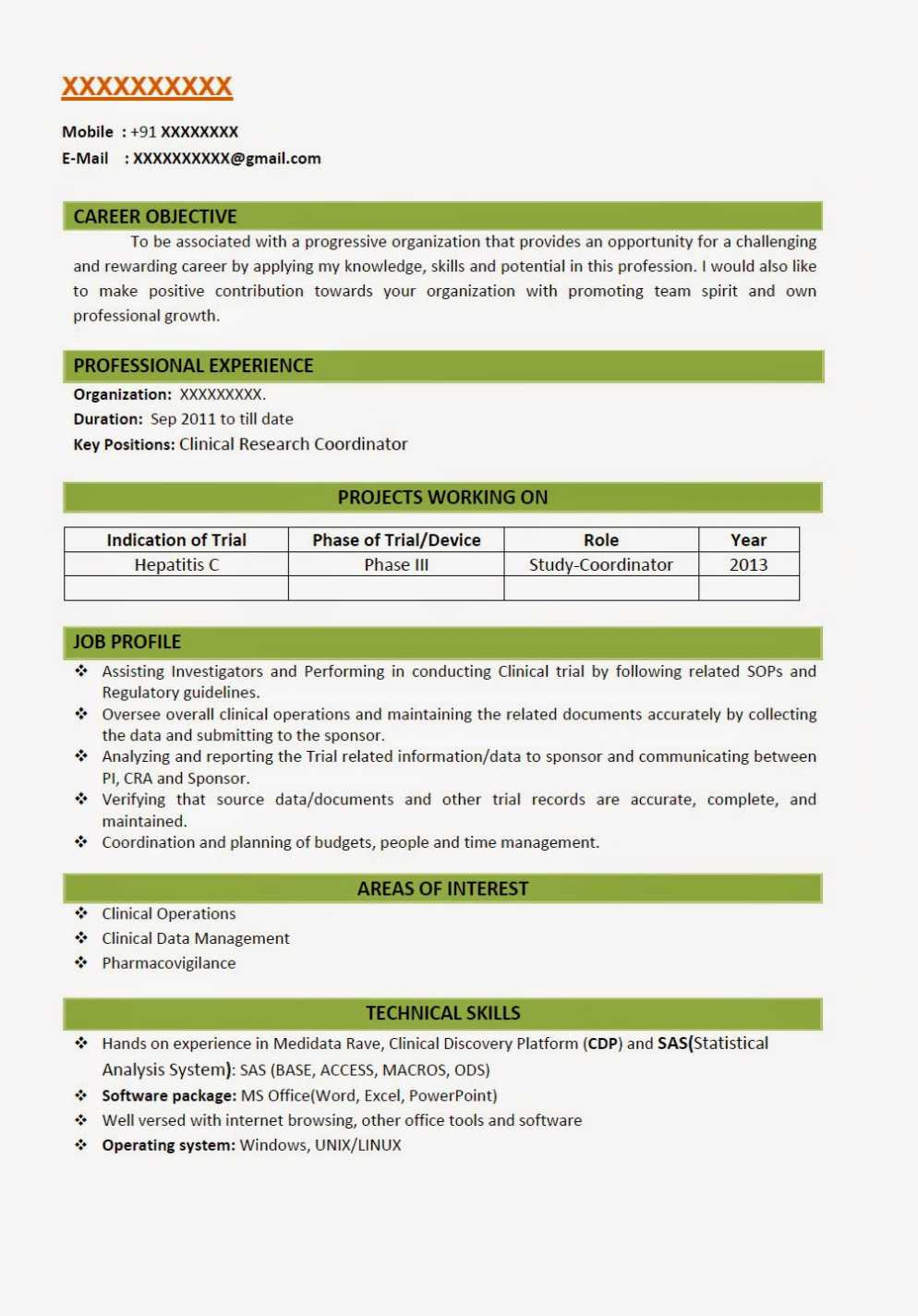 B Pharmacy Fresher Resume Models 2019 2020 Studychacha