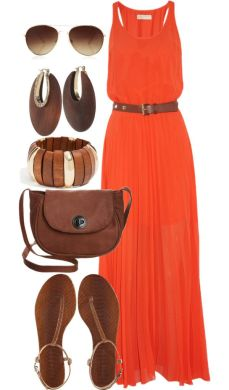 21 Bright   Beautiful Ways to Wear Orange this Summer   Styles Weekly Orange maxi dress with brown accessories