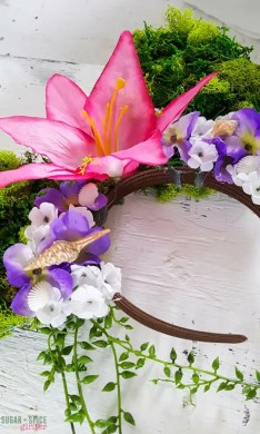 Moana Tefiti Mickey Mouse Ears        Sugar  Spice and Glitter     it s inspiration from the Island of Tefiti after Moana and Maui  restored it s heart  It is lush with fake moss and pretty tropical flowers  with a nod to