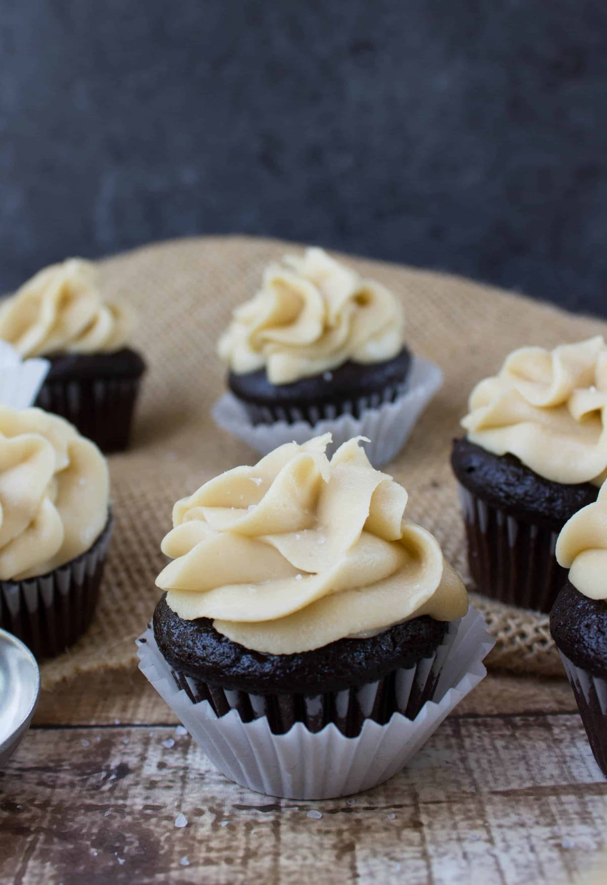 Dark Chocolate Mini Cupcakes With Salted Caramel Frosting