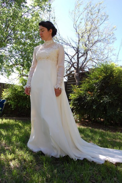 long sleeved wedding dress   Sunlight and Lace  Vintage Long Sleeved Wedding Gown