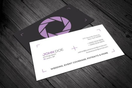 20 Professional Business Card Design Templates for Free Download     A minimal business card template for photographers and videographers   Download includes EPS vector file and two separate PSD files for front and  back