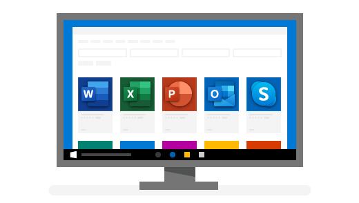 Экранда негізгі Windows қосымшалары бар компьютер
