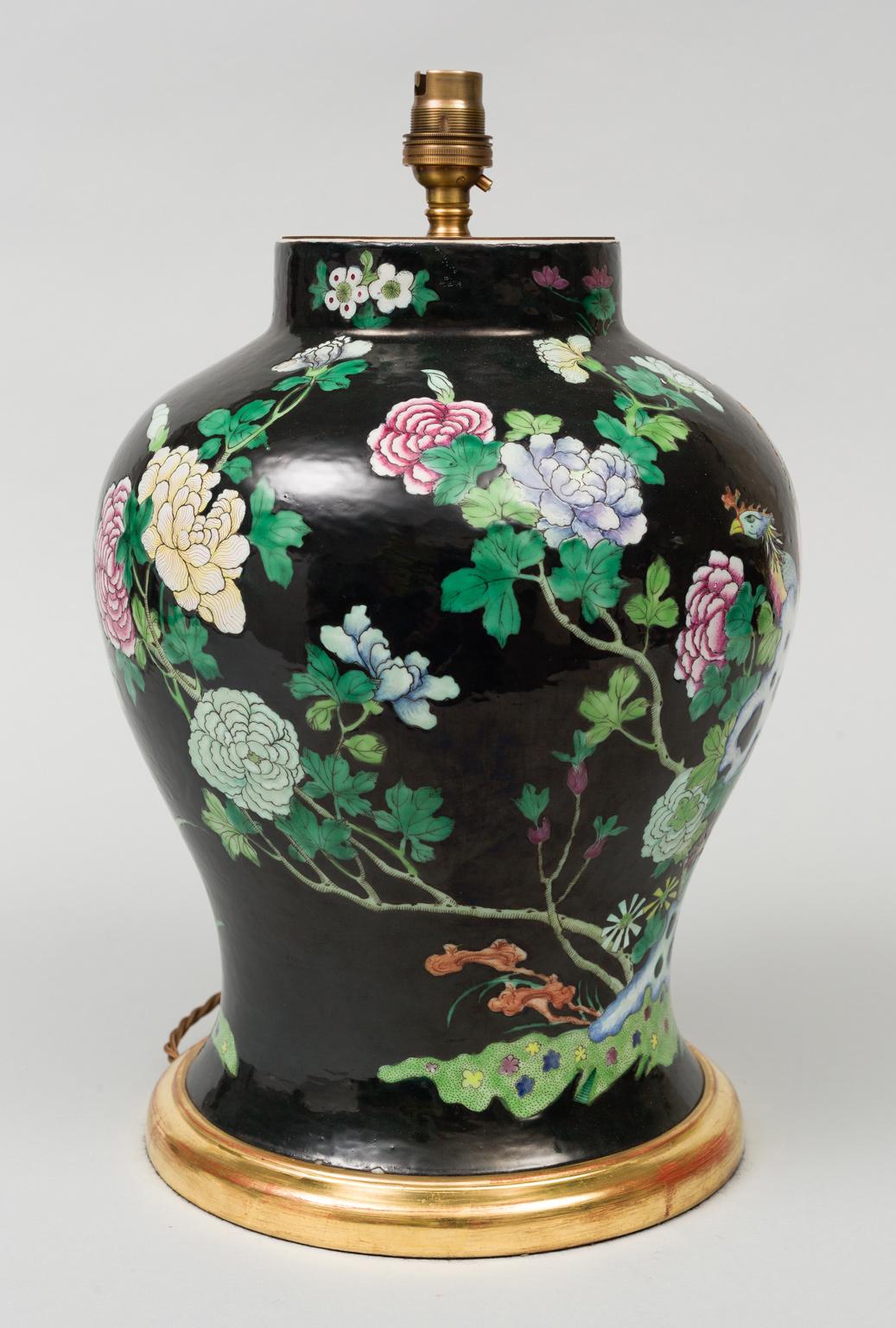 Chinese Famille Noire Vase Lamp