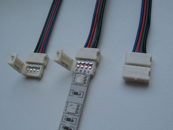 menghubungkan strip led melalui konektor