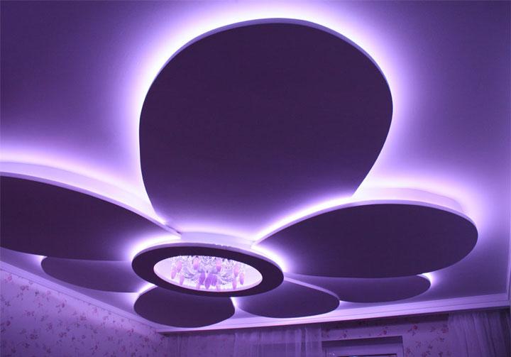 pencahayaan langit-langit LED keriting yang rumit