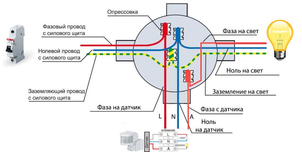 Diagram koneksi sensor gerak tiga kawat dalam distribusi