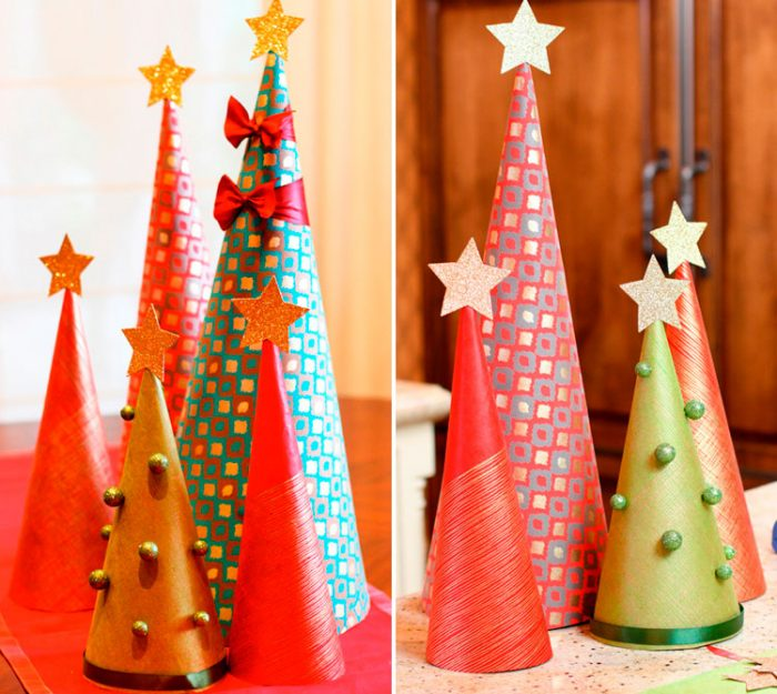Christmas tree made of wrapping paper