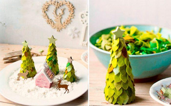 Juletræ lavet af filt