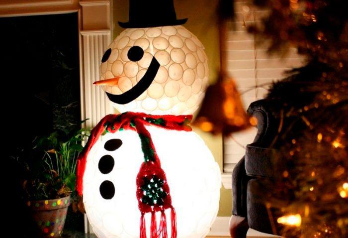 Muovikupit lumiukko